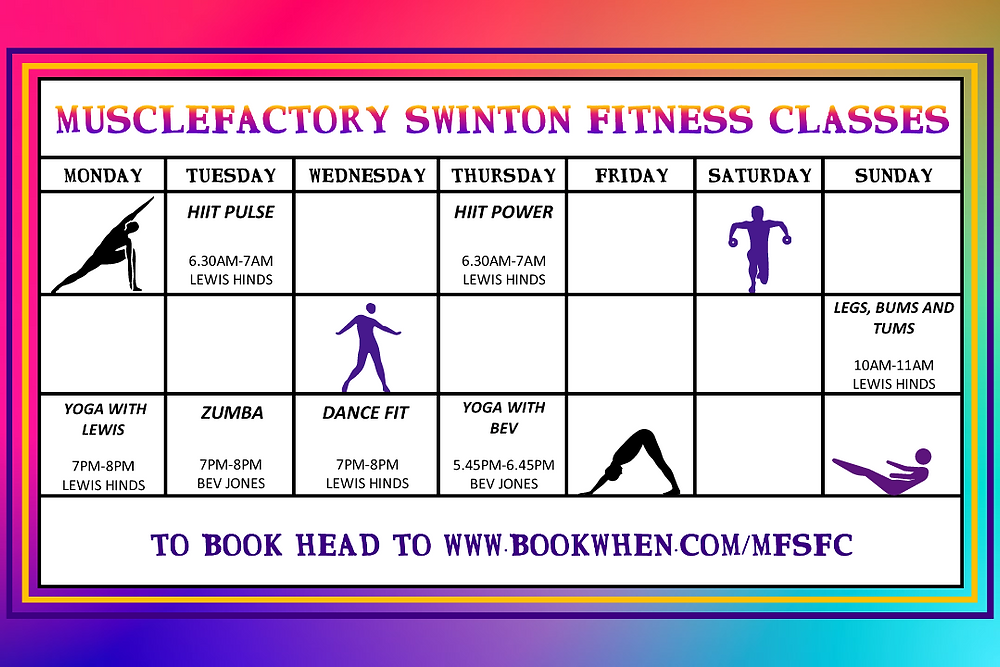 Dance Fit, Yoga, Zumba, Legs Bums and Tums and HIIIT cardio classes here at MuscleFactory Swinton Mexborough S64