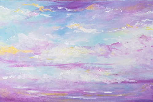 Pastel colours sky painting by Emily Louise Heard