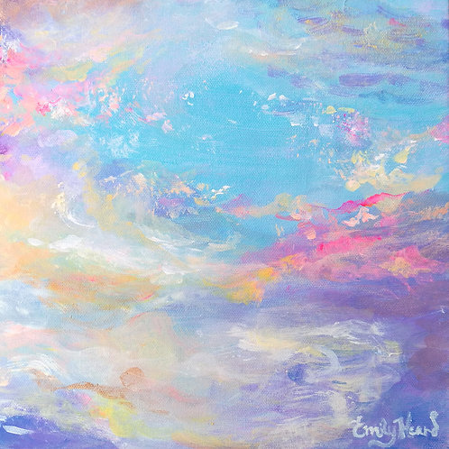Abstract pink and blue sunset painting