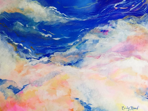 Abstract blue and pink sky painting