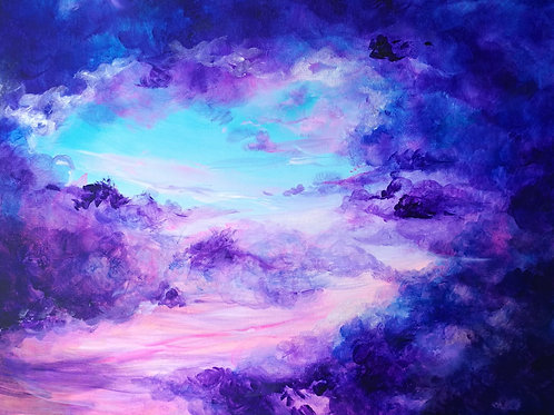 Deep purple sky painting