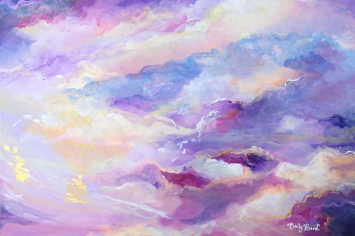 Pastel cloud painting in purple pink and gold