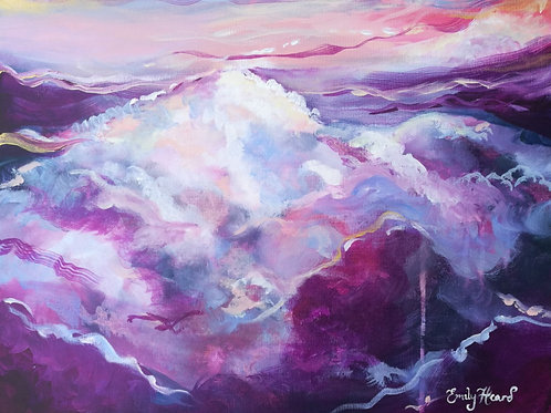 Deep purple cloud painting by Emily Louise Heard