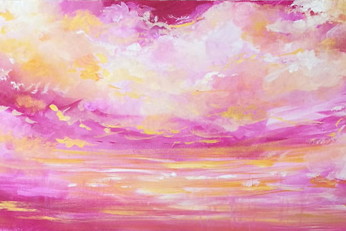 Pink and orange sky painting by Emily Louise Heard
