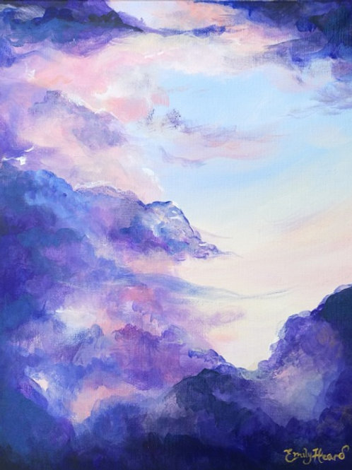 Purple cloud painting by Emily Louise Heard