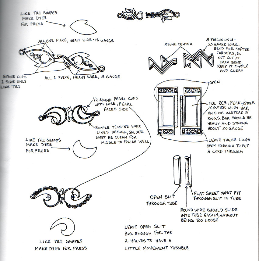 sketches of clasp designs