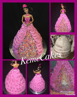 Princess Barbie Cake #barbie #cake #blackgirlmagic #browngirls #lemoncake #kemecakes