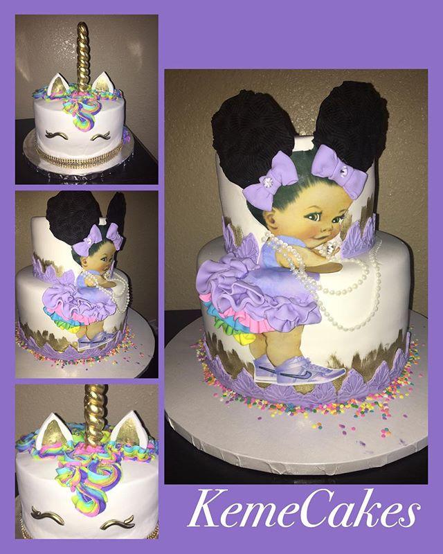 Rainbow Baby Girl 1st Birthday cake and matching Unicorn cakes #babygirl #rufflepanty #unicorncake #