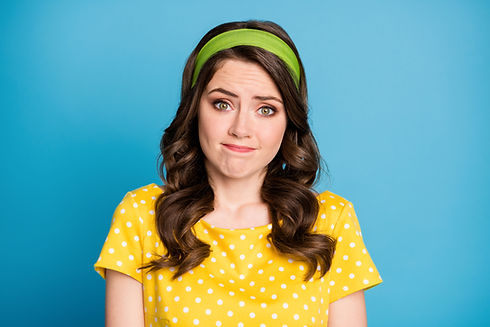 Photo of frustrated girl shrug shoulders feel sorry wear polka-dot clothes isolated over b
