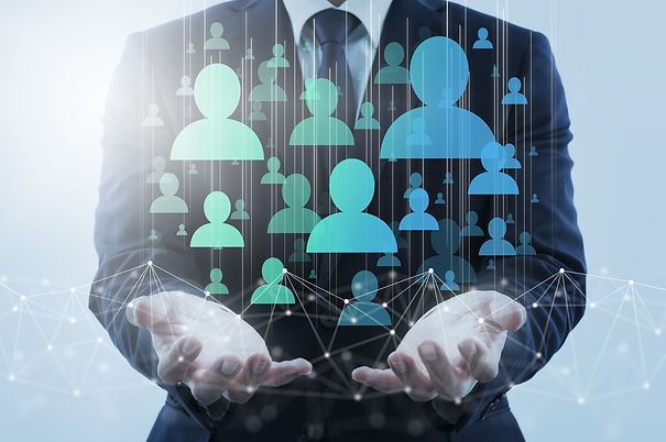 Digital marketing and customers on internet. Business person holding network structure and