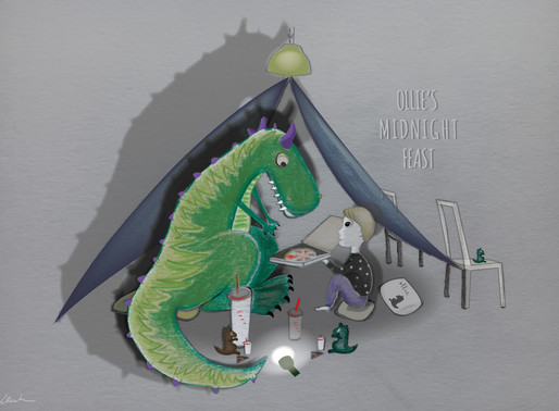 """Ollie loves dinosaurs"" and other custom illustrations."