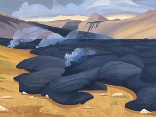 New lava fields in Nauthagi, Iceland
