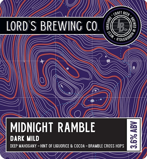 Midnight Ramble Dark Mild 3.6% ABV 9G Cask