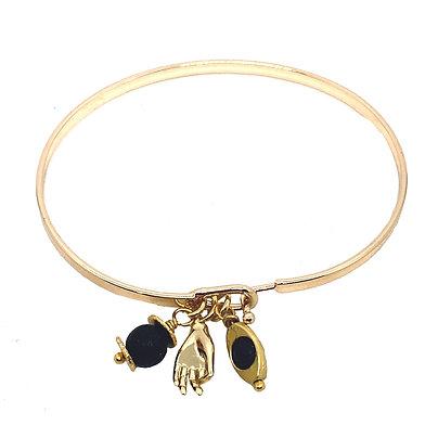 """Bracelet Jonc Fermé """"CHANCE"""" - 6 talismans"""