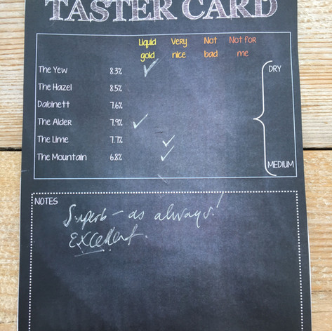 Tasting card