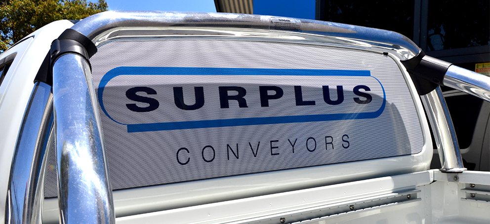 Surplus Conveyors One Way Vision Signage