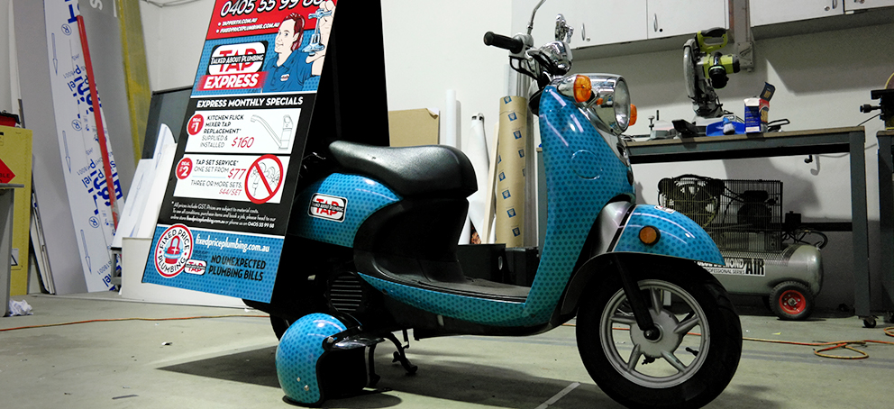 TAP Plumbing Scooter Wrap Signage