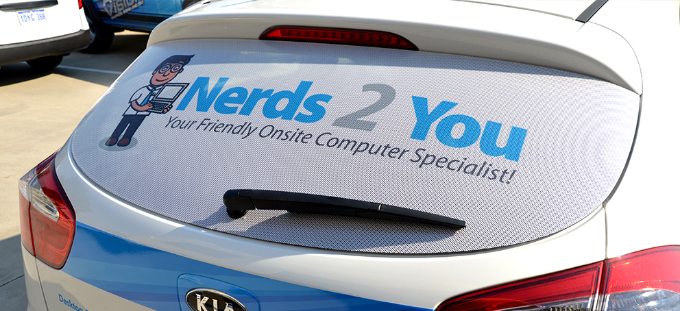 Nerds to You One Way Vision Signage