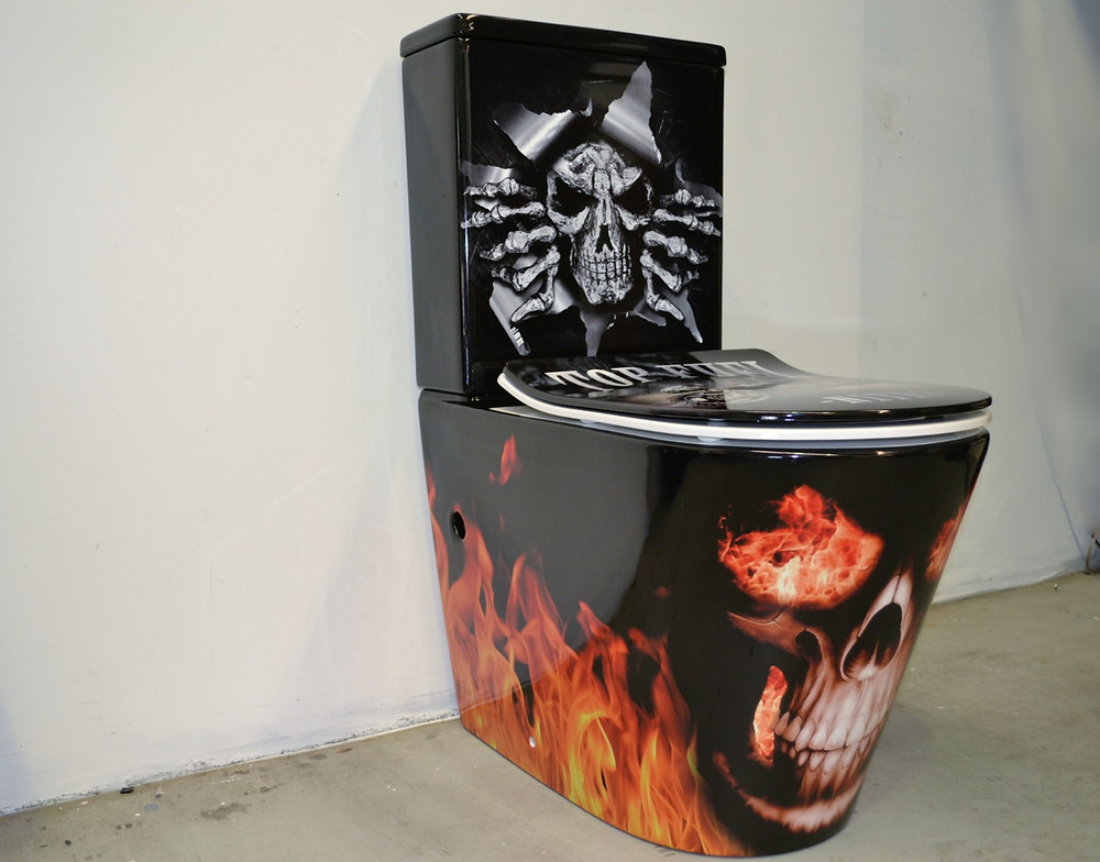 Toilet Wrap Flames Skulls