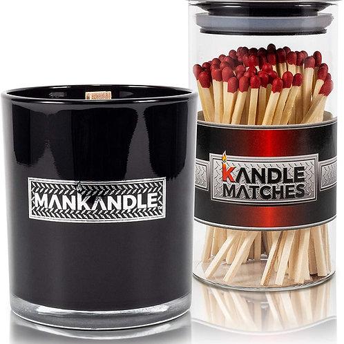 ManKandle Galss Candle & Kandle Matches Gift Set-