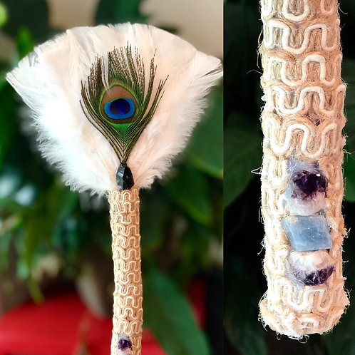 Smudging (Turkey) Feather Wand - Peacock Obsidian