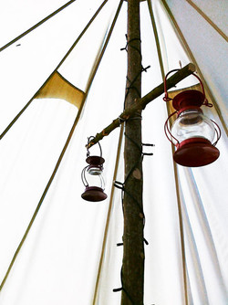t-lights in a bell tent