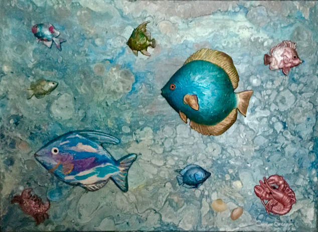 """""""Fantastic world of Fish"""" Original art, acrylic pouring swipe on wooden panel All fish acrylic poured over & mounted on panel 57x77cm."""