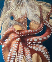 """Embrace of Octopus"" Original painting on canvas  oil & acrylic 117x133cm."