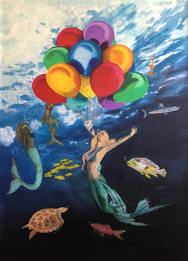 """Mermaids' Celebration"" Original oil painting on canvas 110x160 cm."