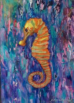 """Sea Horse"" Original oil painting on canvas 35x45cm."