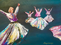 """Semazen / The Whirling Dervishes""Original oil painting on canvas 35x45cm."
