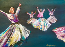 """""""Semazen / The Whirling Dervishes""""Original oil painting on canvas 35x45cm."""