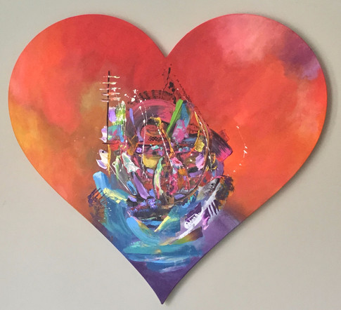 ''Serendipity'' Original painting on custom made heart shaped strecthed canvas. 100x100x4cm.