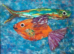 """Barracuda & Mundi"" Original oil painting on canvas 35x45cm."