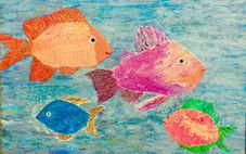 """Fun Fish Family"" Original oil & acrylic on canvas 75x100 cm."