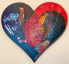 ''Charisma'' Original painting on custom made heart shaped strecthed canvas.100x100x4cm.