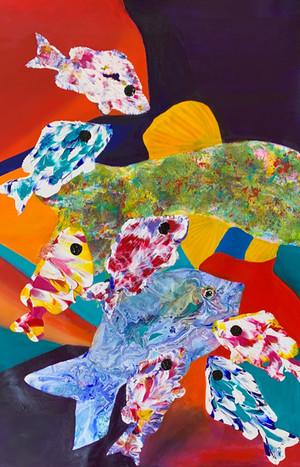 """Avantgarde Fish"" 50x70 cm.Original art, acrylic/oil mixed media on canvas."