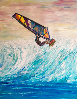 """Wind Surfer""Original oil painting on canvas 60x80cm."