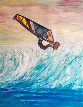 """Wind Surfer""Original oil painting on canvas 60x80cm."