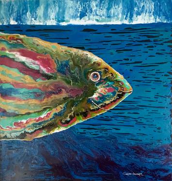 """Joly Fish""Original art, acrylic painting on canvas 90x90cm."