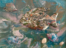 """""""Fishy Wishy"""" Original art, acrylic on canvas 30x40cm."""