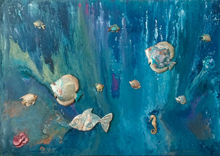 """""""Magical world of Fish"""" 100x140cm.Original art, acrylic pouring swipe on wooden panel All fish acrylic poured over & mounted on panel"""