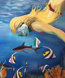 """Free Diving""Original oil painting on canvas 80x100cm."