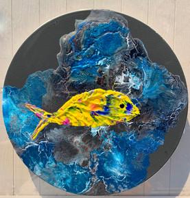 ''Weke'' 40 cm.dia. Original acrylic painting on canvas.