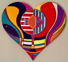 ''Deep in the Heart''Original painting on custom made heart shaped strecthed canvas.100x100x4cm.