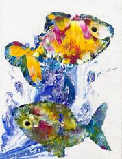 ''Tenku'' 35x45 cm. Original acrylic painting on canvas.