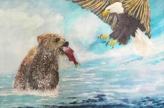 """Gotcha 2x"" Original painting on canvas oil & acrylic 100x140cm.."