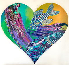 ''Magnific'' Original painting on custom made heart shaped strecthed canvas. 100x100x4cm.