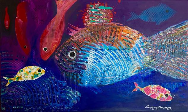 ''Elation'' Original acrylic painting on strecthed canvas. 70x100 cm.