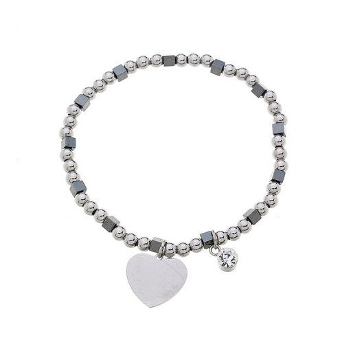 Gun Metal Plated Heart Bracelet